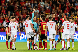 Axel Witsel of Belgium gets a red card from referee Neil Doyle during the FIFA World Cup 2018 qualifying match between Belgium and Gibraltar on August 31, 2017 at the Maurice Dufrasne Stadium in Liege, Belgium.