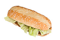 Picture of a Chicken Sandwich from top, white isolated.
