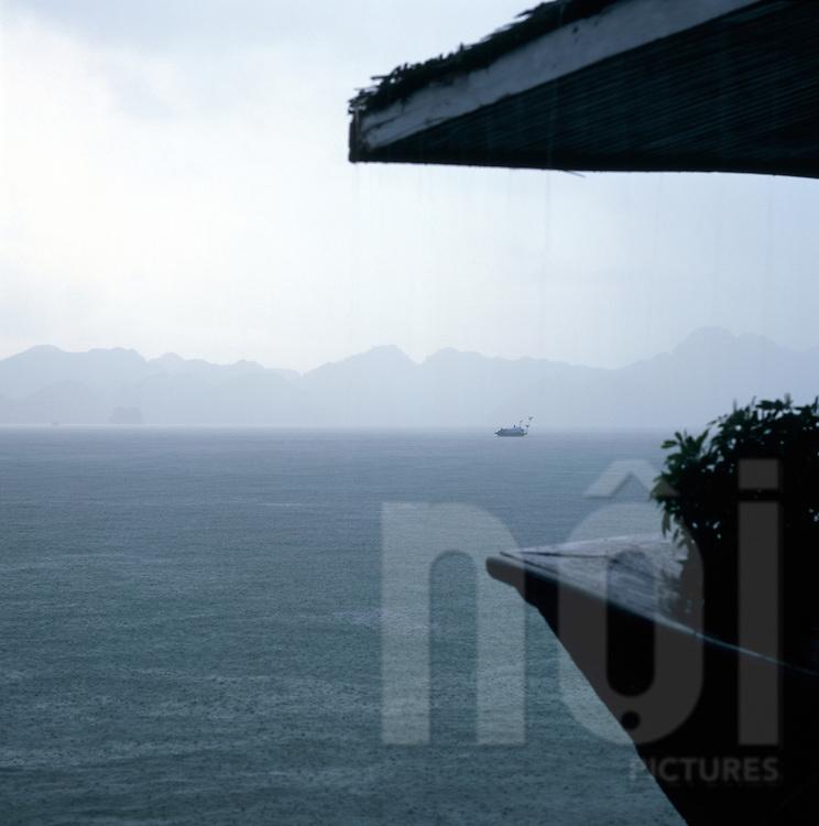 Rainfall in Halong Bay, Vietnam, Southeast Asia
