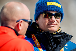 March 17, 2018 - Pyeongchang, SOUTH KOREA - 180317 Henrik Hjelmberg, press attachŽ of Sweden, speaks to Martin Hafsahl, press attachŽ of Norway, after the men's 10 km visually impaired cross-country skiing during day eight of the 2018 Winter Paralympics on March 17, 2018 in Pyeongchang..Photo: Vegard Wivestad GrÂ¿tt / BILDBYRN / kod VG / 170134 (Credit Image: © Vegard Wivestad Gr¯Tt/Bildbyran via ZUMA Press)