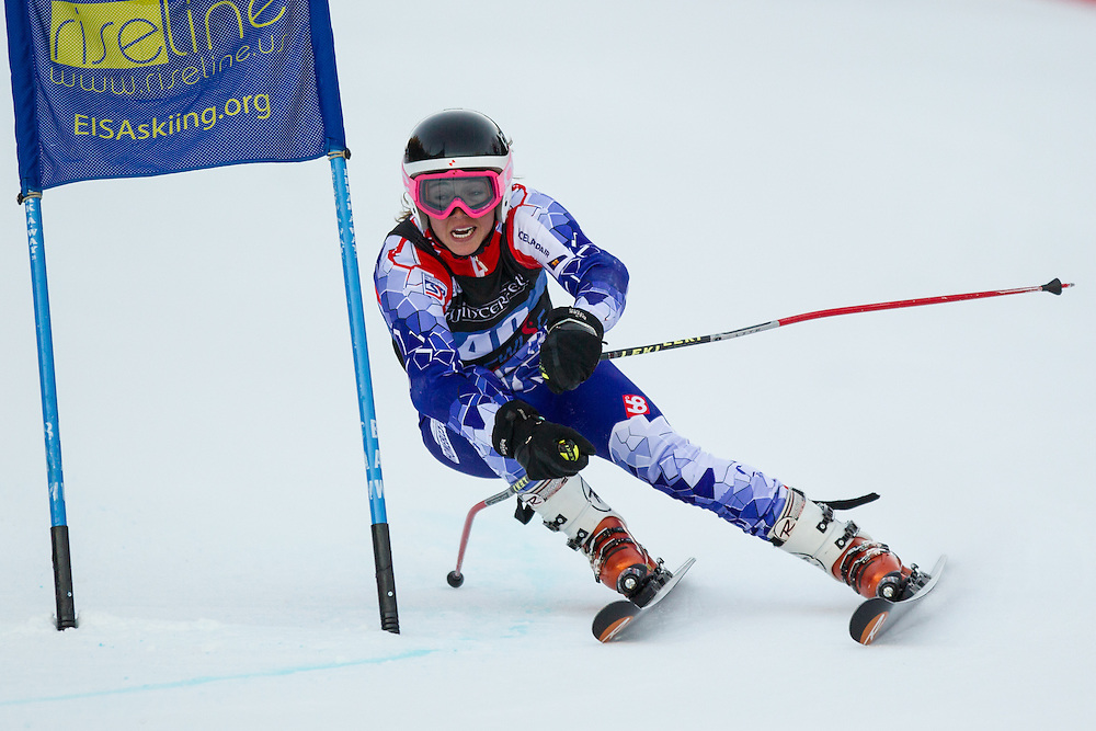 Danielle Brownell-Patty, skis during the second run of the women's giant slalom at the University of New Hampshire Carnival at Attitash Mountain on January 24, 2014 in Bartlett, NH. (Dustin Satloff/EISA)