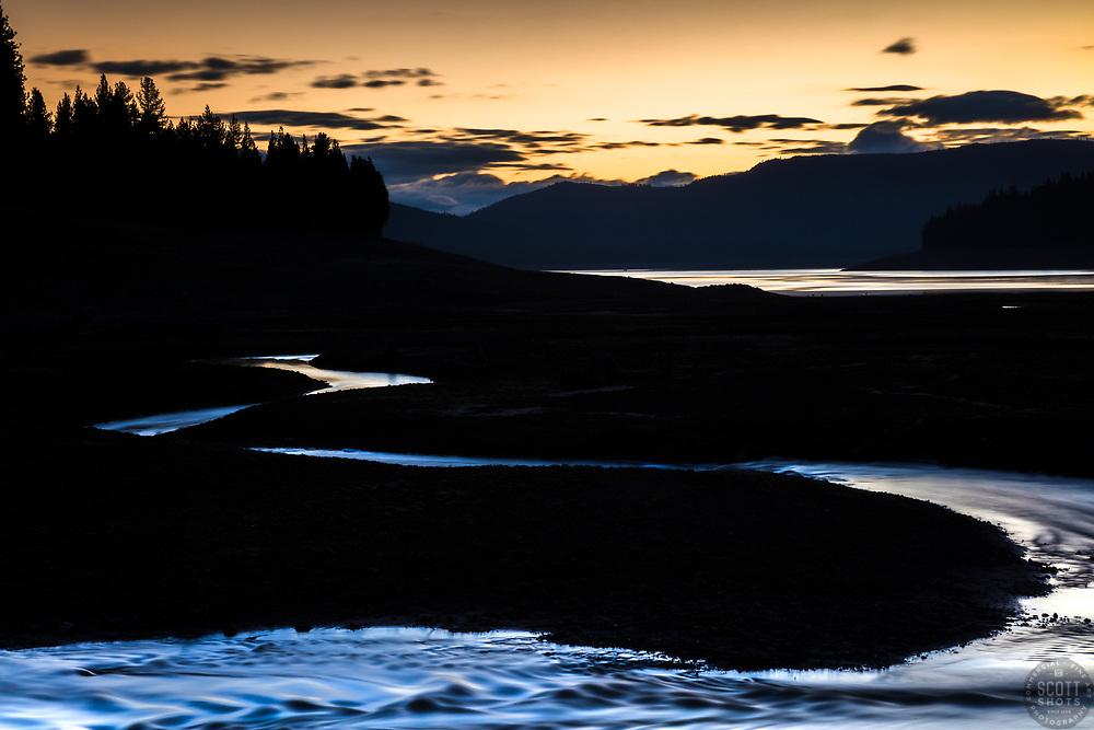 """Sagehen Creek at Sunrise 1"" - Photograph of a winding Sagehen Creek flowing into Stampede Reservoir, shot at sunrise."