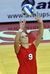 09 October 2009: Skylar Lesan sets up a Braves attack. The Redbirds of Illinois State defeated the Braves of Bradley in 3 sets during play in the Redbird Classic on Doug Collins Court inside Redbird Arena in Normal Illinois