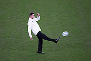Rassie Erasmus, coach of South Africa kicks the ball before  the Rugby World Cup  final match between England and South Africa at the International Stadium ,  Saturday, Nov. 2, 2019, in Yokohama, Japan. South Africa defeated England 32-12. (Florencia Tan Jun/ESPA-Image of Sport)