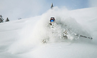 Tim Dudley tries to stay afloat in fresh powder while skiing in the Teton Pass backcountry.