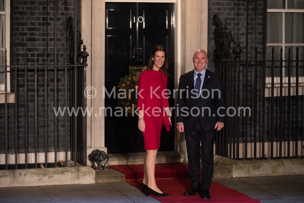 London, UK. 3 December, 2019. Sophie Wilmès, Prime Minister of Belgium, arrives with her husband Christopher Stone for a reception for NATO leaders at 10 Downing Street on the eve of the military alliance's 70th anniversary summit at a luxury hotel near Watford.