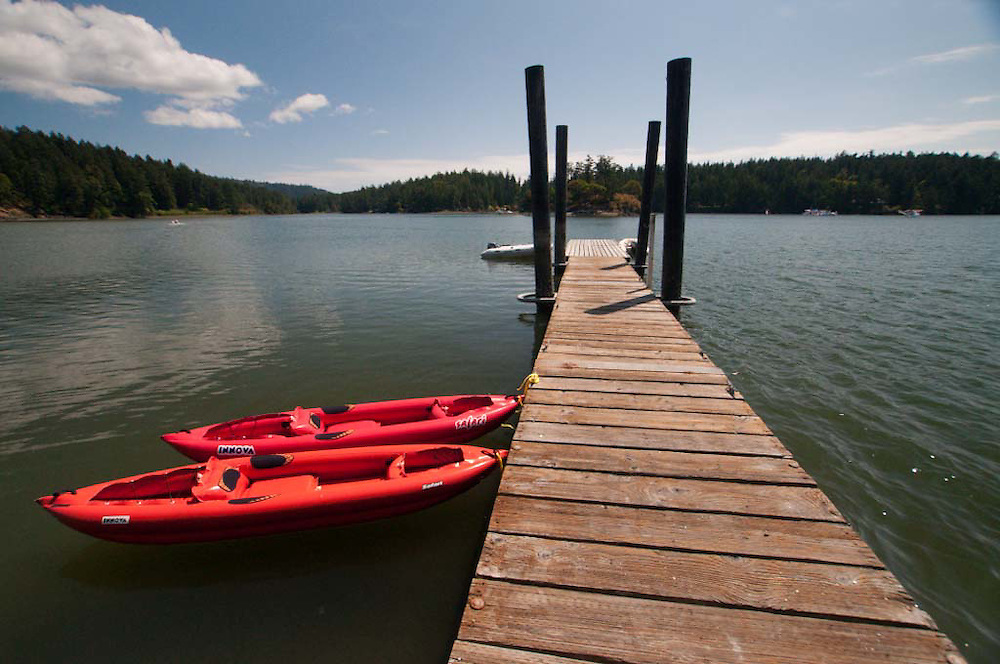 Kayaks and Dock at Bell Point, English Camp, San Juan Island, Washington, US