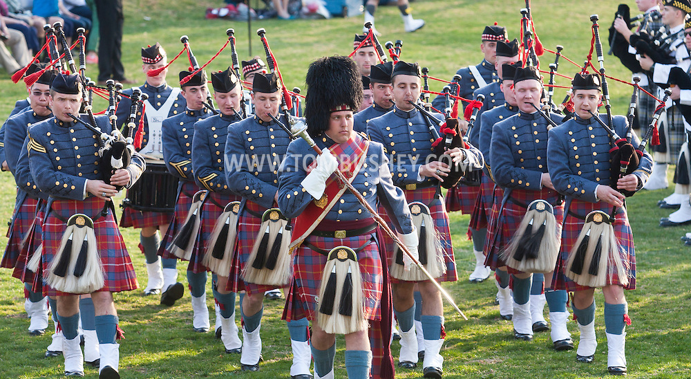 West Point, New York - The Virginia Military Institute Pipe Band marches off the field at the end of the 32nd annual West Point Military Tattoo at Trophy Point at the United States Military Academy on April 13, 2014.