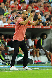 05.08.2015, Allianz Arena, Muenchen, GER, AUDI CUP, FC Bayern Muenchen vs Real Madrid, im Bild Trainer Pep Guardiola (FC Bayern Muenchen) wuetend // during the 2015 Audi Cup Match between FC Bayern Munich and Real Madrid at the Allianz Arena in Muenchen, Germany on 2015/08/05. EXPA Pictures © 2015, PhotoCredit: EXPA/ Eibner-Pressefoto/ Stuetzle<br /> <br /> *****ATTENTION - OUT of GER*****