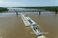 63807-01202 Barge on the Mississippi river crossing under the Thebes bridge Thebes, IL