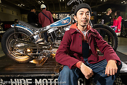 Hide Motorcycles' Hideya Togashi with his latest custom, a 1966 Harley-Davidson XLCH Sportster at the 27th Annual Mooneyes Yokohama Hot Rod Custom Show 2018. Yokohama, Japan. Sunday, December 2, 2018. Photography ©2018 Michael Lichter.
