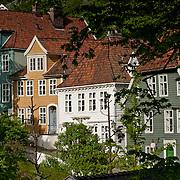 Three weeks aboard the Kong Harald. Hurtigruten, the Coastal Express. Bergen. Tradionnal norwegian house on the hills of Bergen.