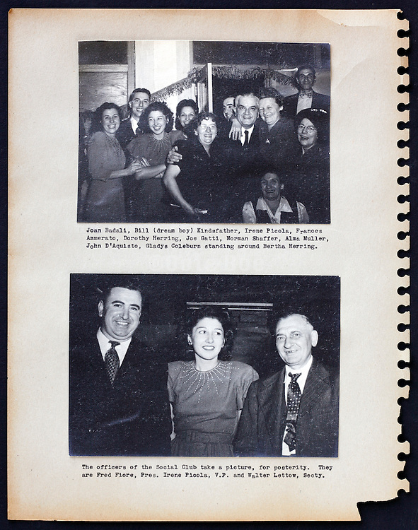 page from a photo album with company workers USA 1945