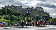 In Edinburgh, the Royal Scots Greys Monument in Princes Street Gardens was erected in 1906 to commemorate the fallen of this British cavalry regiment during the Boer War. The Royal Scots Greys Regiment served from 1707-1971. Edinburgh is the capital city of Scotland, in Lothian on the Firth of Forth, Scotland, United Kingdom, Europe. Behind is Edinburgh Castle atop Castle Rock, the most besieged place in Great Britain and one of the most attacked in the world, with 26 sieges in its 1100-year-old history. Few of the present buildings pre-date the Lang Siege of the 1500s except for St Margaret's Chapel from the early 1100s, the Royal Palace, and the early-1500s Great Hall.