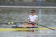 Chungju, South Korea. Sunday Heats, USA. LM1X. Andrew CAMPBELL Jr. Moves away from the start on the opening day of the 2013 FISA World Rowing Championships, Tangeum Lake International Regatta Course. 10:13:59  Sunday  25/08/2013 [Mandatory Credit. Peter Spurrier/Intersport Images]