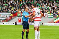 Hamilton Academical Defender Lucas Tagliapietra having a word with the referee during the Ladbrokes Scottish Premiership match between Hamilton Academical FC and Celtic at New Douglas Park, Hamilton, Scotland on 4 October 2015. Photo by Craig McAllister.