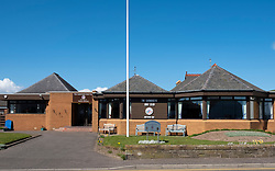 Exterior view of modern Carnoustie Golf Club clubhouse adjacent to the famous Carnoustie Golf Links in Carnoustie, Angus, Scotland, UK.