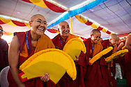 Joy of some of the twenty nuns to be awarded Geshe-ma degrees sitting in the front row in the courtyard of Drepung Lachi Monastery in Mundgod after a remark of HHDL, Karnataka, India on December 22, 2016