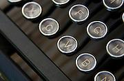 Close-up of antique typewriter keys.