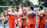 AMSTELVEEN - Mirco Pruyser (Ned) heeft de stand op 2-0 gebracht  tijdens de halve finale wedstrijd Nederland-Engeland bij de Rabo EuroHockey Championships 2017. vlnr Sander de Wijn (Ned), Mirco Pruyser (Ned) , Floris Wortelboer (Ned), Seve van Ass (Ned) en Bob de Voogd (Ned)   COPYRIGHT KOEN SUYK