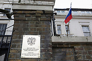 On the day that the British government awaits an explanation from the Kremlin over the poisoning by the nerve gas Novichok in Salisbury of ex-Russian spy Sergei Skripal and his daughter Yulia, an exterior of the Russian Federation Embassy and Consulate Section, on 13th March 2018, in London England.