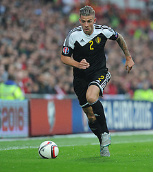 Toby Alderweireld of Belgium (Southampton) in action. - Photo mandatory by-line: Alex James/JMP - Mobile: 07966 386802 - 12/06/2015 - SPORT - Football - Cardiff - Cardiff City Stadium - Wales v Belgium - Euro 2016 qualifier