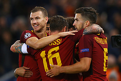 October 31, 2017 - Rome, Italy - Stephan El Shaarawy of Roma celebrating with the teammates  during the UEFA Champions League football match AS Roma vs Chelsea on October 31, 2017 at the Olympic Stadium in Rome. (Credit Image: © Matteo Ciambelli/NurPhoto via ZUMA Press)