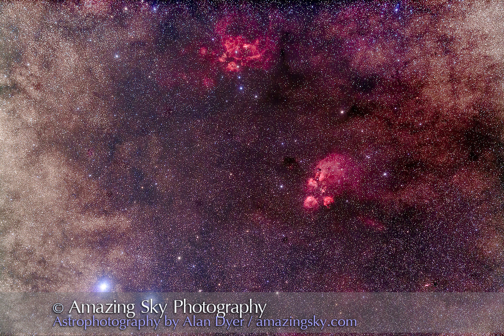 The region in the tail of Scorpius around the Cat's Paw Nebula, NGC 6334, centred, with NGC 6357 above at the top and the tiny planetary, the Bug Nebula, NGC 6302, at bottom right. Shaula or Lambda Scorpii, is the brightest star at lower left, along with Lesath, the stars marking the stinger in the tail of Scorpius. <br /> <br /> This is a stack of 5 x 6-minute exposures with the Borg 77mm f/4 astrograph and filter-modified Canon 5D MkII taken from the Tibuc Cottage, Coonabarabran, NSW, Australia.