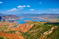 Tadjikistan, Asie centrale, le lac Nourek sur la route entre Douchanbe et Khorog // Tajikistan, Central Asia, Nourek lake on the road between Douchanbe and Khorog