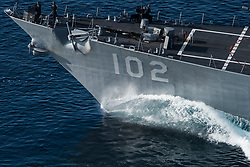 PACIFIC OCEAN (May 11, 2017) The guided-missile destroyer USS Sampson (DDG 102) participates in a strait transit exercise during a group sail training unit exercise with the Theodore Roosevelt Carrier strike Group. Group sail is the first step in the Theodore Roosevelt's integrated training phase and aims to enhance mission-readiness and warfighting capabilities between the ships, air wings and the staffs through simulated real-world scenarios. (U.S. Navy photo by Mass Communication Specialist 2nd Class Paul L. Archer/Released) 170511-N-DM308-556 <br /> Join the conversation:<br /> http://www.navy.mil/viewGallery.asp<br /> http://www.facebook.com/USNavy<br /> http://www.twitter.com/USNavy<br /> http://navylive.dodlive.mil<br /> http://pinterest.com<br /> https://plus.google.com