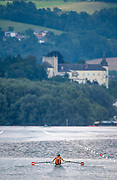 Linz, Austria, Sunday,  25th Aug 2019, FISA World Rowing Championship, Regatta, AUT W1X, Magdalena LOBNIG, powering down the course, over looked by the imposing, [Das Schloss Ottensheim] Castle,  <br /> [Mandatory Credit; Peter SPURRIER/Intersport Images]<br /> <br /> 16:17:38, Sunday