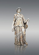 Roman marble sculpture known as the 'Flora Maggiore' , a 2nd century AD, inv no 5978 Farnese Collection, Naples   Museum of Archaeology, Italy.<br /> <br /> If you prefer to buy from our ALAMY STOCK LIBRARY page at https://www.alamy.com/portfolio/paul-williams-funkystock/greco-roman-sculptures.html . Type -    Naples    - into LOWER SEARCH WITHIN GALLERY box - Refine search by adding a subject, place, background colour, etc.<br /> <br /> Visit our ROMAN WORLD PHOTO COLLECTIONS for more photos to download or buy as wall art prints https://funkystock.photoshelter.com/gallery-collection/The-Romans-Art-Artefacts-Antiquities-Historic-Sites-Pictures-Images/C0000r2uLJJo9_s0