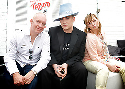 Boy George <br /> <br /> announcing the come back of the Boy George musical 'Taboo' at Brixton Club House in September 2012 <br /> <br /> press conference <br /> 26th June 2012 <br /> <br /> Kevan Frost <br /> Boy George<br /> Christine Bateman<br /> <br /> Photograph by Elliott Franks