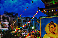 Decorated pagoda during a festival in Ho Chi Minh City, Vietnam, Southeast Asia