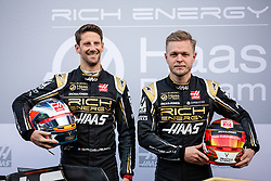 February 18, 2019 - Montmelo, BARCELONA, Spain - Romain Grosjean from France with 08 Rich Energy Haas F1 Team portrait and Kevin Magnussen from Denmark with 20 Rich Energy Haas F1 Team portrait during the Formula 1 2019 Pre-Season Tests at Circuit de Barcelona - Catalunya in Montmelo, Spain on February 18. (Credit Image: © AFP7 via ZUMA Wire)