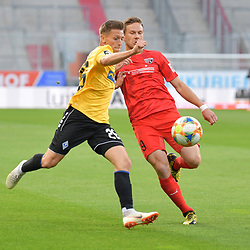 Spiel am 35 Spieltag in der Saison 2019-2020 in der 3. Bundesliga zwischen dem FC Ingolstadt 04 und dem SV Waldhof Mannheim am 24.06.2020 in Ingolstadt. <br /> <br /> Jan-Hendrik Marx (Nr.26, SV Waldhof Mannheim) und Marcel Gaus (Nr.19, FC Ingolstadt 04)<br /> <br /> Foto © PIX-Sportfotos *** Foto ist honorarpflichtig! *** Auf Anfrage in hoeherer Qualitaet/Aufloesung. Belegexemplar erbeten. Veroeffentlichung ausschliesslich fuer journalistisch-publizistische Zwecke. For editorial use only. DFL regulations prohibit any use of photographs as image sequences and/or quasi-video.
