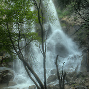 Fast flowing Grizzly Falls in King's Canyon National Park, CA.