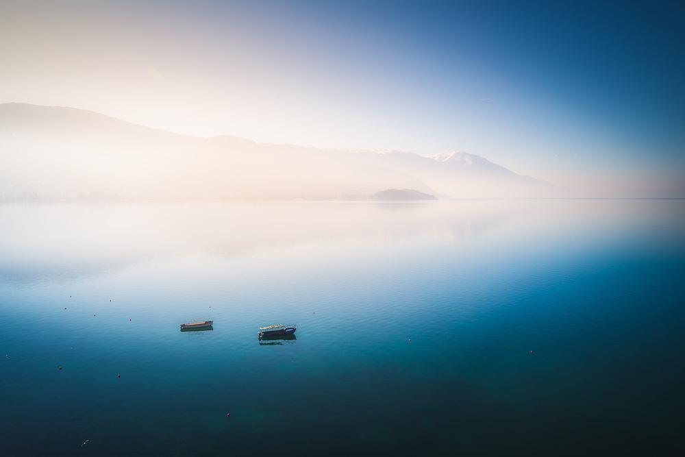 Boats at Lake Orhid, North Macedonia