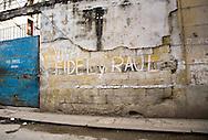 """""""Viva Fidel y Raul,"""" graffiti on a wall in Old Havana, Cuba"""