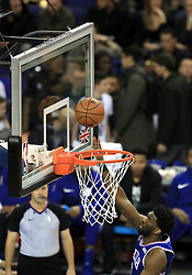 Philadelphia 76ers' Joel Embiid scores a net during the NBA London Game 2018 at the O2 Arena, London.