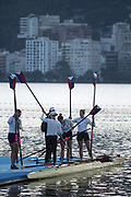 """Rio de Janeiro. BRAZIL.   USA W4X Boating. General View at the sunrise in the boating park at the 2016 Olympic Rowing Regatta. Lagoa Stadium,<br /> Copacabana,  """"Olympic Summer Games""""<br /> Rodrigo de Freitas Lagoon, Lagoa.   Thursday  11/08/2016 <br /> <br /> [Mandatory Credit; Peter SPURRIER/Intersport Images]"""