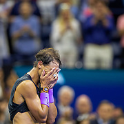 2019 US Open Tennis Tournament- Day Fourteen. An exhausted Rafael Nadal of Spain celebrates his five set win against Danill Medvedev of Russia in the Men's Singles Final on Arthur Ashe Stadium during the 2019 US Open Tennis Tournament at the USTA Billie Jean King National Tennis Center on September 8th, 2019 in Flushing, Queens, New York City.  (Photo by Tim Clayton/Corbis via Getty Images)