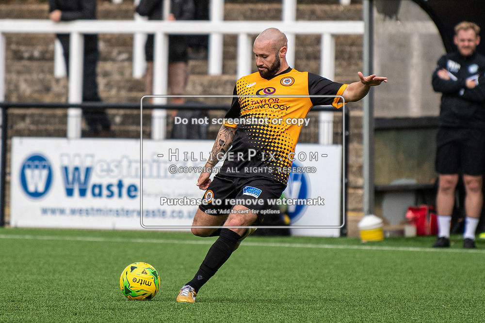 BROMLEY, UK - SEPTEMBER 22: Karl Dent, of Cray Wanderers, during the Emirates FA Cup Second Round Qualifier match between Cray Wanderers and Soham Town Rangers at Hayes Lane on September 22, 2019 in Bromley, UK. <br /> (Photo: Jon Hilliger)