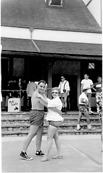 1950's couple in a ballroom dance pose at Jones Beach State Park