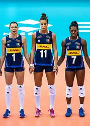 16-10-2018 JPN: World Championship Volleyball Women day 17, Nagoya<br /> Italy - Serbia / Serena Ortolani #1 of Italy, Anna Danesi #11 of Italy, Sylvia Chinelo Nwakalor #7 of Italy