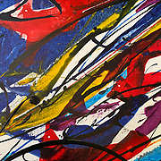 """DETAIL: """"Birds of a Feather' No. 20 in the Revival Series . 48"""" x 82"""" . Acrylic on Canvas"""