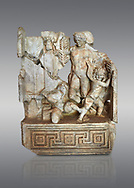 Roman Sebasteion relief  sculpture of Agon Aphrodisias Museum, Aphrodisias, Turkey. <br /> <br /> The scene is an allegory of the athletic contest (or agon). The pillar was a beareded head of Hermes the god of the Gymnasium. Nearby is a palm of victory and a prize table with victory ribbon on it. Two winged baby Eros figures are struggling over a palm branch ( mostly broken): they act out the idea of contest, which is personified in the youthful figure behind. He hold another palm of victory: he is Agon himself. .<br /> <br /> If you prefer to buy from our ALAMY STOCK LIBRARY page at https://www.alamy.com/portfolio/paul-williams-funkystock/greco-roman-sculptures.html . Type -    Aphrodisias     - into LOWER SEARCH WITHIN GALLERY box - Refine search by adding a subject, place, background colour, museum etc.<br /> <br /> Visit our ROMAN WORLD PHOTO COLLECTIONS for more photos to download or buy as wall art prints https://funkystock.photoshelter.com/gallery-collection/The-Romans-Art-Artefacts-Antiquities-Historic-Sites-Pictures-Images/C0000r2uLJJo9_s0