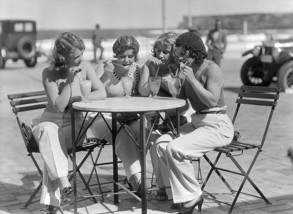 Girls at a Café at Bondi Beach, Sydney, Australia, 1930