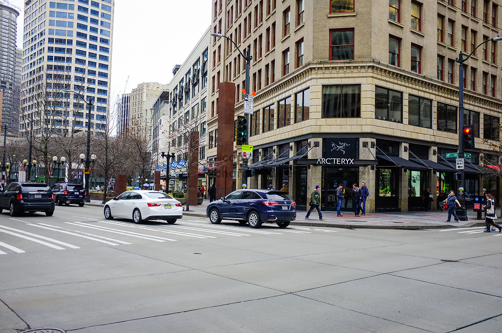 2017 MARCH 05 - Corner of 4th Ave at Pike Street, downtown, Seattle, WA, USA. By Richard Walker