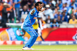 Yuzvendra Chahal of India appeals for an LBW - Mandatory by-line: Robbie Stephenson/JMP - 09/07/2019 - CRICKET - Old Trafford - Manchester, England - India v New Zealand - ICC Cricket World Cup 2019 - Semi Final